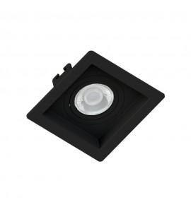 Embutido Mini dicróica quadrado recuado preto