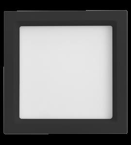 Painel LED embutir quadrado recuado preto 20W 3000K 22,5cm Save Energy