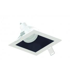 Embutido Dicróica angular quadrado recuado branco com foco preto
