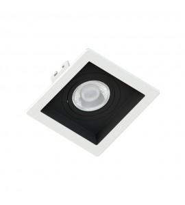 Embutido Dicróica quadrado recuado branco com foco preto