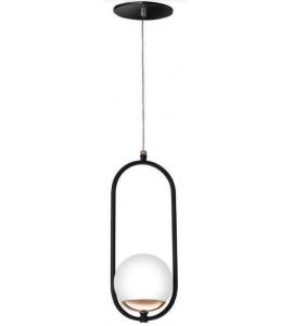 Pendente preto cobre brilho com globo branco