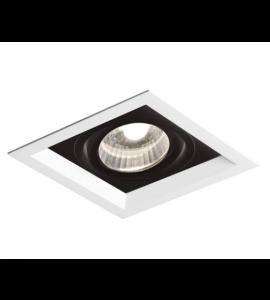 Embutido dicróica quadrado recuado 11,7cm branco/preto