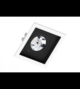 Embutido AR70 quadrado recuado branco com foco preto