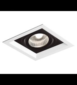 Embutido PAR20 quadrado recuado 13,8cm branco/preto