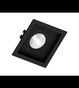 Embutido PAR20 quadrado recuado preto